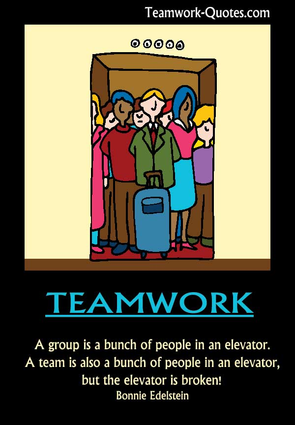 Fun Teamwork Poster Team Stuck Broken Elevator