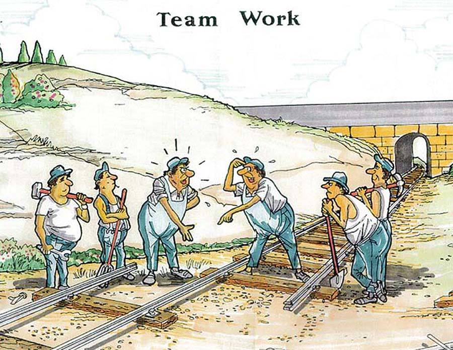 Funny Team Work Poster Building The Railroad