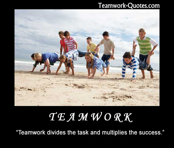 Quote about team on poster